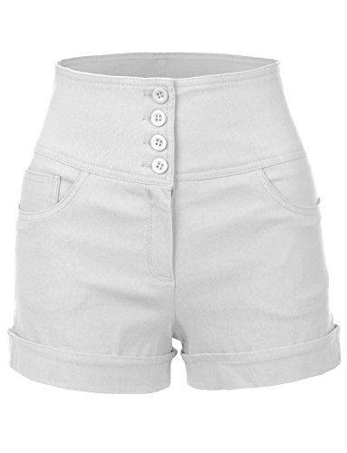 RubyK Womens Stretchy High waisted Button Sailor Nautical Shorts,Rbkwb1173_white,X-Large