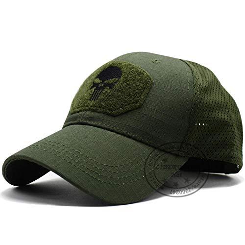 WULIAN Punisher Skull Multicam Bedienerkappe Herren Mesh Summer Fitted Tactical Cap Spezialeinheit Sniper Swat Hat Place Patch Od, Skull Od