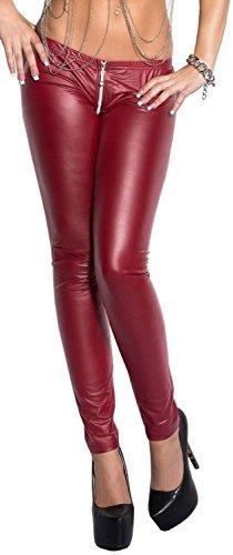 Koucla Sexy Leggings mit Reißverschluß (Zipper) im Wetlook in schöner Geschenketasche * Leggins Damen Gogo Clubwear (900647 Bordeaux M/L)