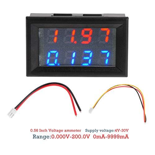 Runrain - voltímetro Digital CC 200 V 10 A, 4 dígitos, 5 Cables, medidor de Corriente de Voltaje