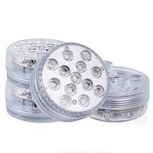 Wellehomi Tauchbare LED-Poollichter mit Fernbedienung (RF), Saugnäpfe, Magnete, Farbwechsel, wasserdicht, batteriebetrieben, Badewannenlichter für Whirlpool, Pool, Teich, Foundation, Party 4pack