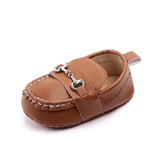 Quernn Baby Loafers Infant Toddler Boys Girls Prewalker Moccasin Crib Shoes(301 12-18 Months Brown)