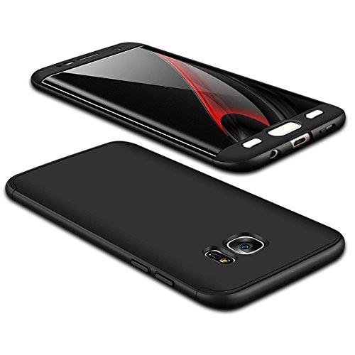 JMGoodstore Cover Galaxy S7 Edge,Custodia Galaxy S7 Edge, 360 Gradi Premio Ibrido Rugged 3 in 1 Duro AntiGraffio Macchia PC Custodia+Pellicola Vetro Temperato Protettiva Nero