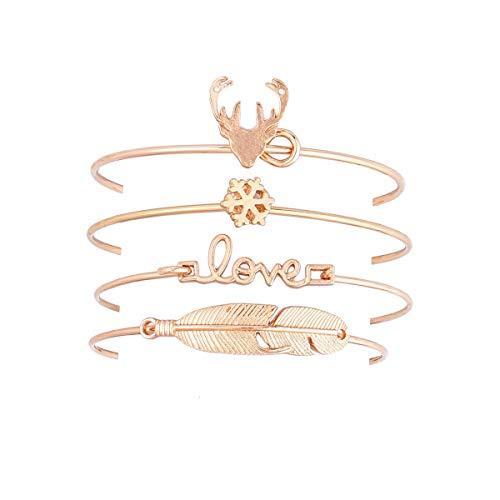 Elk Letters Love Snowflake Armband lässt Armband 4 Stück Set Böhmisches Bettelarmband und Damenschmuck offen