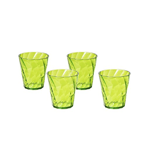 Omada Design Set 4 Bicchieri Colorati Acqua da 35 cl, in Plastica Infrangibile, resistenti e lavabili in lavastoviglie, Made in Italy, linea Diamond, Colore Verde, Impilabili