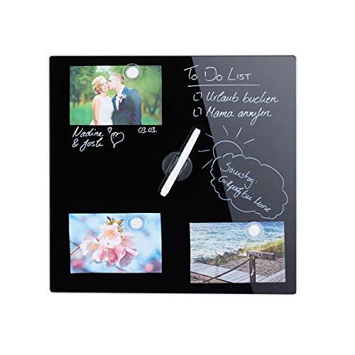 Relaxdays Magnettafel, beschreibbar, inkl. 3 Magnete & Stift, abwischbar, Rahmenlos, Magnetboard Glas, 40x40 cm, schwarz