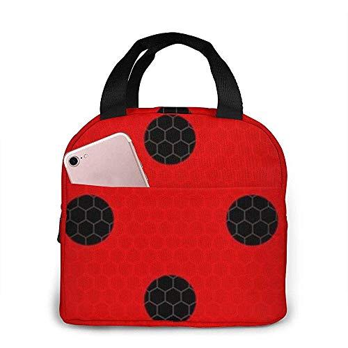 Coccinelle, boîte à lunch Premium à point noir sur fond rouge, sac à lunch isolé pour hommes femmes adultes adolescents enfants