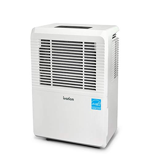 Ivation 1,500 Sq Ft Energy Star Dehumidifier - Large-Capacity - Includes Programmable Humidistat, Hose Connector, Auto Shutoff/Restart, Casters & Washable Air Filter, White