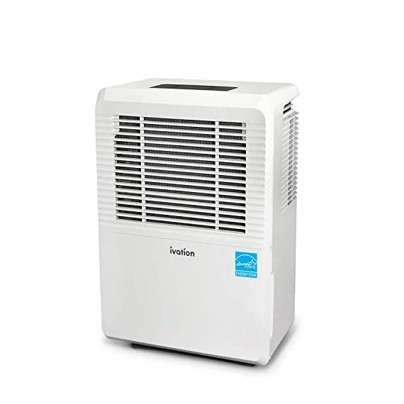Ivation 1,500 Sq Ft Energy Star Dehumidifier - Large-Capacity - Includes Programmable Humidistat, Hose Connector, Auto… 1 This Compressor Dehumidifier Keeps Spaces Up to 4500 Sq. Ft. Cool & Comfortable by Removing 50 Pints of Moisture/Day (70 Pint according to the old DOE standards, in 2019 this was classified as 70 pint and it now needs to be classified as 50 pint but IT REMOVED THE SAME MOISTURE AS THE OLD 70 PINT) Built-In Humidity Sensor - The LCD accurately displays the current humidity level in the room, enabling you to set your ideal levels for automatic moisture controlAllergens & Odors for Healthy Air Low Maintenance & Easy Operation; Simply Plug-In, Select Settings & Empty 1.3 Gallon Reservoir