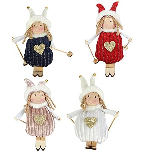 Yinuoday Lot de 4 poupées de ski à suspendre pour sapin de Noël