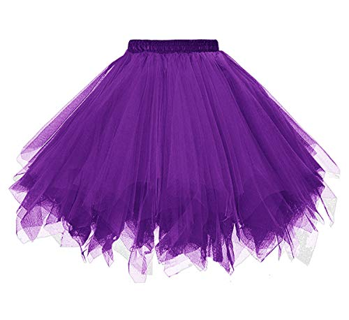 Dressever Vintage 1950s Short Tulle Petticoat Ballet Bubble Tutu Purple Small/Medium