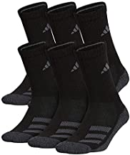 adidas Youth Kids-Boy's/Girl's Cushioned Crew Socks (6-Pair) Black/ Black - Onix Marl/ Night Grey/ Onix/ Light Onix, Large