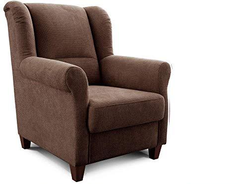 Cavadore Sessel Finja mit Federkern / Ohrensessel im Landhausstil / passender Hocker separat erhältlich / 87 x 102 x 96 / Webstoff Braun