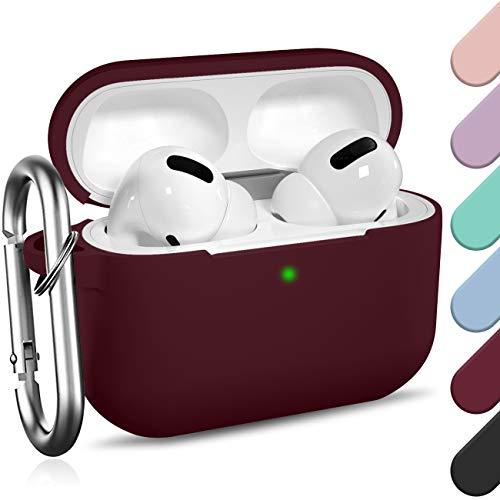 Ouwegaga Kompatibel mit AirPods Pro Hülle - Stoßfeste Silikon Case Schutzhülle [Front-LED Sichtbar] mit Karabiner Kompatibel mit Apple AirPods Pro 2019, Wein Rot