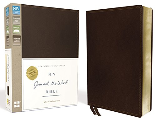 NIV, Journal the Word Bible, Premium Leather, Brown: Reflect on Your Favorite Verses