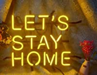 FINEON Let's Stay Home リアルガラスチューブ 幅17インチ x 高さ13インチ ネオンサインライト ビールバー パブ ガレージ ルーム 寝室 窓 ギフト ビルボード