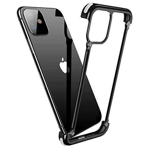 OATSBASF Aluminum Bumper Case Compatible with iPhone 11 Pro Max, Utral-Thin Corner Corver Bumpers Case for iPhone 11 Pro Max 6.5-inch (11 Pro Max Black)