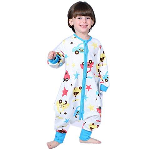Kauftree Baby Kinder Schlafsack Ganzjahresschlafsack mit Beinen Schlafstrampler Jungen Mädchen Cartoon (L, Blau Auto)