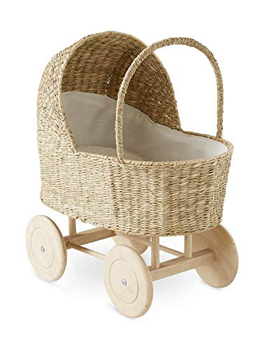 Vertbaudet Cochecito de muñecas retro, ruedas de madera, color blanco, tamaño único