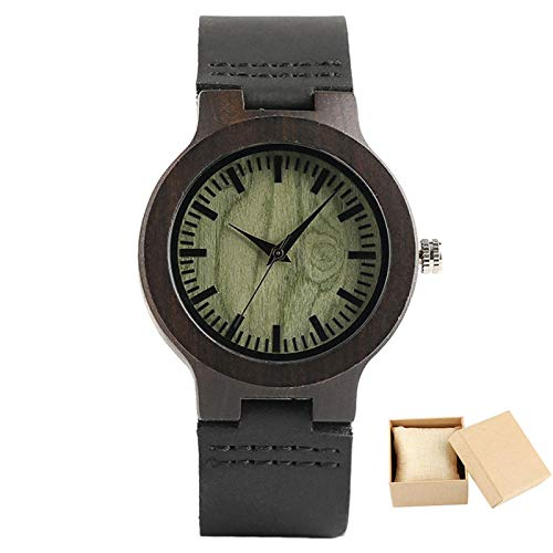Amantes de los Relojes de Madera Reloj de Pulsera de Cuarzo con Esfera Redonda Verde único Reloj de Pulsera de Cuero Negro Reloj de Pareja de ébano Caja de Regalo