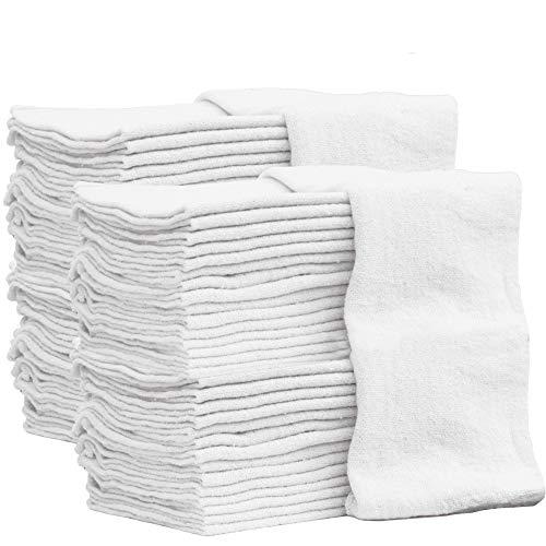 Auto-Mechanic Shop Towels, Shop Rags (100 Pack) 100% Cotton Commercial Grade Perfect for Your Garage, Auto Body Shop & Bar Mop (White 100 Pack)