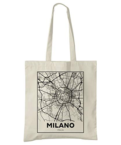 Super Cool Totes Mailand, Italien, Stadtplan Einkaufstasche (Design 4)