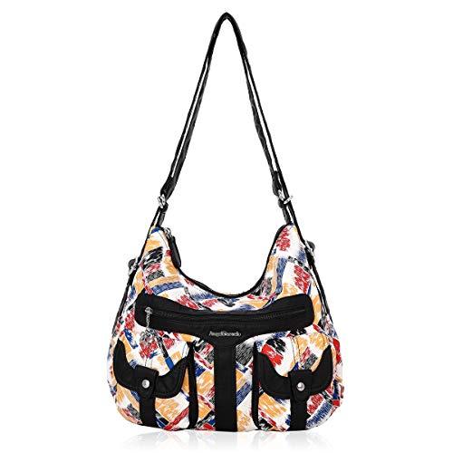 Angel Barcelo Schultertasche Frauen Multifunktionale Handtasche aus weichem Leder Geldbörsen Schulter Hobo Rucksack Umhängetasche mit Tasche Schwarz