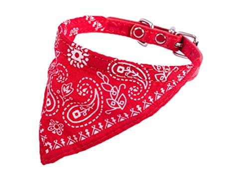 Markcur Hundehalsband mit Tuch Hunde Halsband Halstuch für Hund Katze Rot