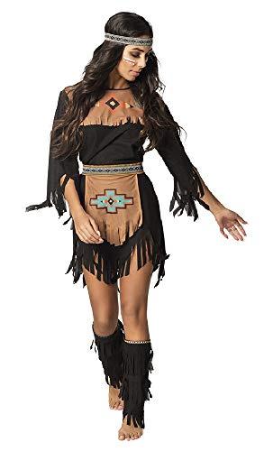 shoperama She-Wolf - Disfraz de india para mujer, vestido negro, cinturón, calentadores, cinta para el pelo, chaleco salvaje, talla: 40/42