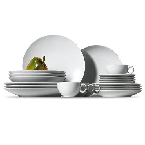 Thomas Loft - Vajilla de porcelana de 16 piezas color blanco