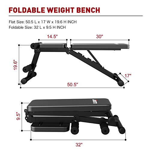 JOROTO Adjustable Weight Bench,Strength Training Bench,Multi-purpose Foldable Bench 7 Adjustable Angles for Full Body Workout Home Gym (Black)