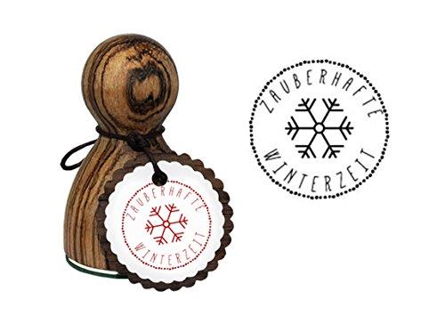 AFVERKOOP AANBIEDING grote houten stempel kerststempel Kerstmis - sneeuwvlok ijs kristal ster - Tekst: magische wintertijd, 1a-kwaliteit drukoppervlak: 3,2 cm