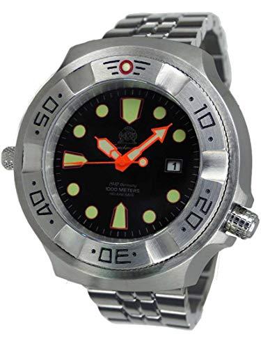 Tauchmeister Reloj de buceo profesional T0318M XXL, 100 ATM, correa de acero inoxidable, 52 mm