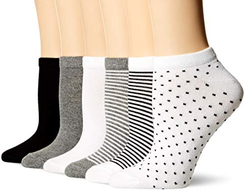 Amazon Essentials Women's 6-Pack Casual Low-Cut Socks, Black Assorted, 6 to 9