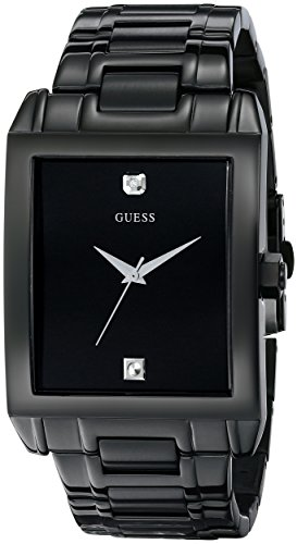 GUESS Men's U12557G1 Classic Black IP Rectangular Diamond Accented Watch