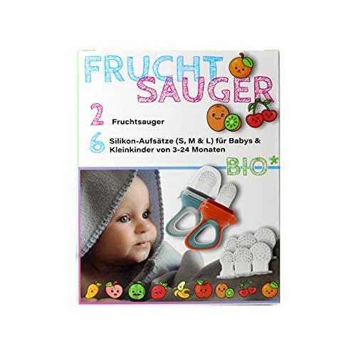 2x Fruchtsauger in je 3 Größen passend für Babys und Kleinkinder PVC + BPA frei, ideal für Bio Früchte, Gemüse, Brei + Beikost, Beisring + Schnuller in Einem (Violett/Rosa)