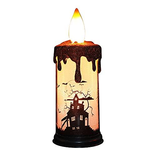 KIHL Velas parpadeantes sin Llama de Halloween, lámpara LED de luz, candelabro, Adorno de Mesa, decoración de iluminación para Fiestas en casa, Castillo
