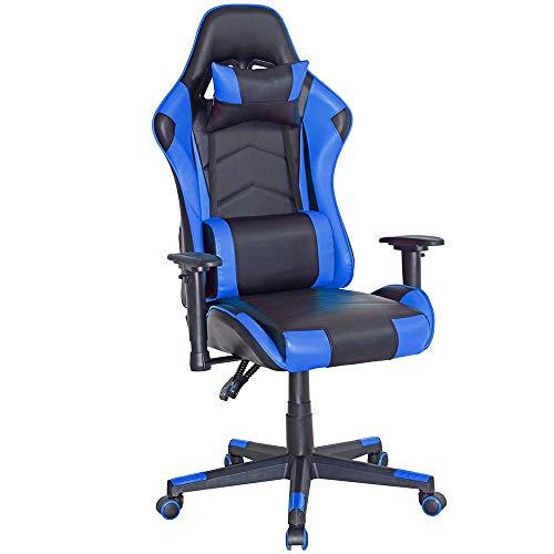 Poltrona Sedia Gaming Eco pelle Schienale reclinabile cuscino lombare e poggiatesta Direzionale ideale per ufficio casa Altezza Regolabile 5 Ruote Rotazione 360 Gradi (Blu-Nero)