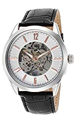Lucien Piccard Men's LP-10660A-02S-RA Loft Stainless Steel Automatic Watch with Black Leather Band