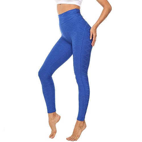 MISS MOLY Women High Waist Textured Yoga Pants Ruched Butt Tummy Control Workout Leggings Blue
