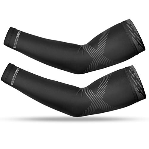ROCKBROS UV Protection Cooling Arm Sleeves for Men Women Compression Sun Sleeves Arm Cover Outdoor Sports Golf, Paddling Rowing Kayaking,Driving, Running Hiking Long Tattoo Sleeves Black XXL