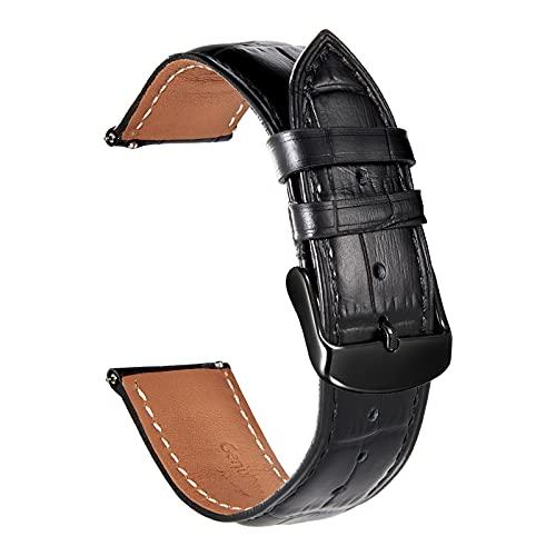 時計 ベルト 20mm クイックリリース - 本革腕時計 ベルト - ワニ革模様 時計ベルト - ステンレス鋼のピンバックル - 時計 バンド- ブラック