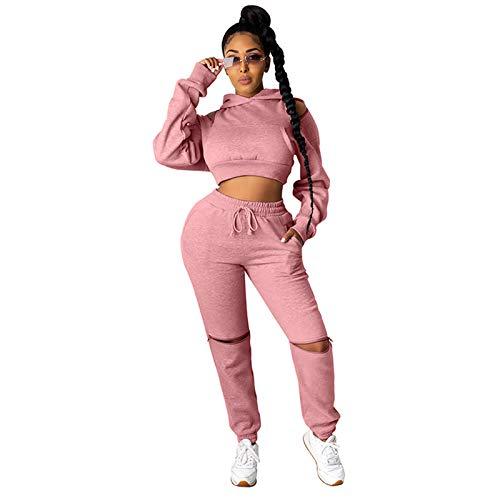 Kafiloe Two Piece Outfits for Women Sexy Long Sleeve Hoodie Sweatshirts Drawstring Pants Pink