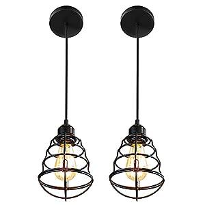 Industrial Pendant Light 2Pack, Farmhouse Hanging Light, Wire Cage Pendant Lamp, Edison Pendant Light Fixture, Farmhouse Lamp Ceiling, Hanging Bar Lights, Vintage Hanging Lights for Kitchen Hallway