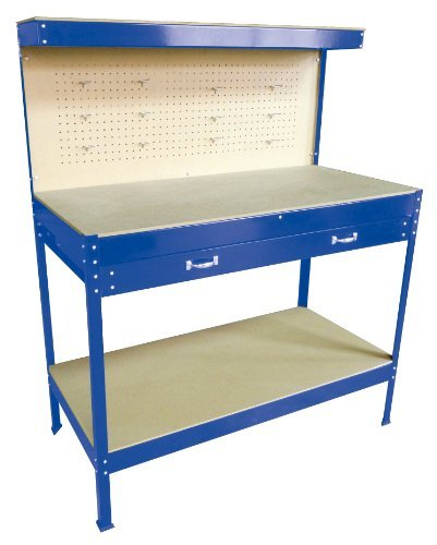 SwitZer New Blue Steel Garage Tool Box Toolbox Work Bench Workbench Storage with Drawers Pegboard and 12 Pegs Shelf DIY Workshop Station