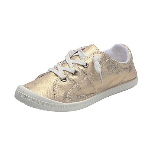 Beudylihy Zapatos para mujer, hombre, niño, niña, zapatos de moda, zapatos de ocio, zapatos de lona, dorado, 39 EU