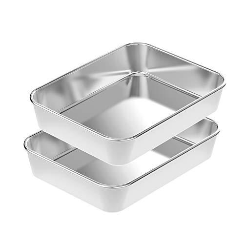 Rectangular Cake Pan Set 2, HKJ Chef Stainless Steel Lasagna Pan, Roaster Pasta Baking Cookie Sheet Pan, Size 12.5 x 10 x2.2 Inch, Heavy Duty & Durable, Oven & Dishwasher Safe