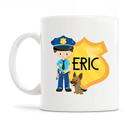 Personalized Police Mug, Blue Police Dog Cop Mug, Kids K9 Police Officer Personalized Mug, Custom Name Mug For Kids - 11OZ Coffee Mug