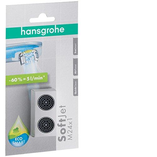 hansgrohe Perlator/Strahlregler, Ersatzteil SoftJet, wassersparendes Luftsprudler Set, Wasserhahn Sieb mit Durchflussbegrenzer 5 l/min