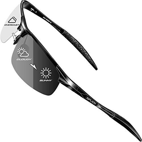 SIPLION Gafas de sol polarizadas de conducción de los hombres Al-Mg marco de metal ultra ligero fotocromático 8177 day-bianse